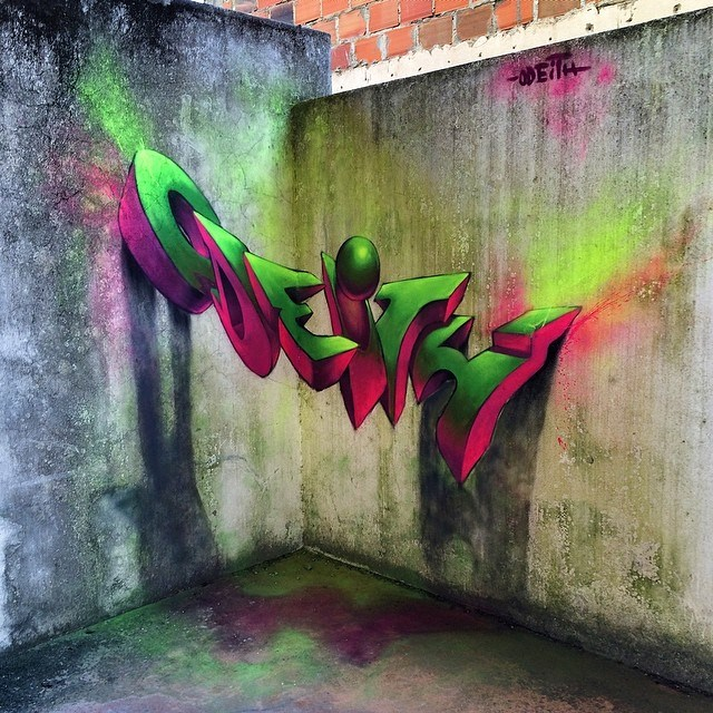 Incredibly bad ass 3d graffiti murals by odeith for 3d mural wall art